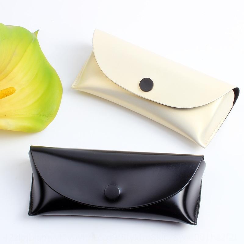 Caso de cuero hecha a mano de cuero caso de sol gafas de sol resistentes a la presión de caja de las gafas de sol botón de la manera