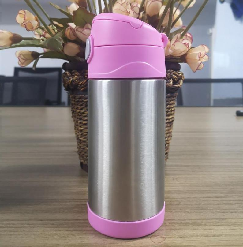12oz sippy cup insulated stainless steel straw bottle kid water bottle with spill resistant lid fit kids water bottle