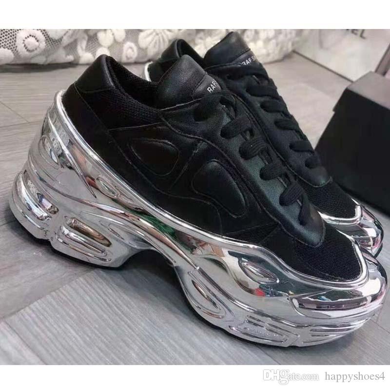Chaussures Casual Raf Simons surdimensionnée Sneaker Ozweego chaussures hommes femmes chaussures de sport en argent effet métallisé Sole Sport Entraîneur O2