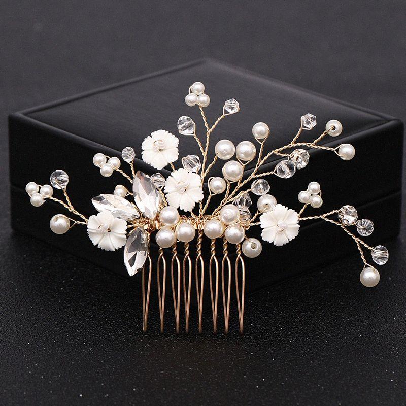 Handmade Gold Crystal Pearl Wedding Hair Combs Hair Accessories for Bridal Headpiece Combs Women Wedding Jewelry Headwear EHdL#
