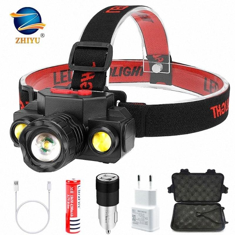ZHIYU XPE + 2 * COB Led Fishing Headlight Use 18650 Battery Headlamp Zoom Head Lamp Torch Outdoor Camping Head Light nKGh#