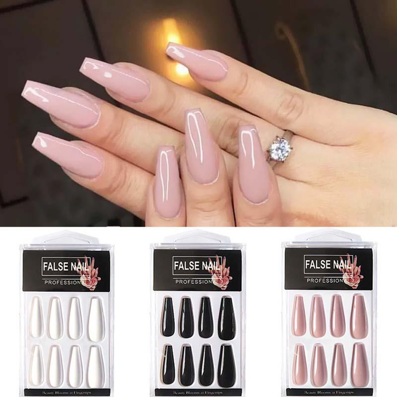 20pcs/box Long French False Nails Solid Color Ballet Nail Tips Display Press On Nails Fake Nail Manicure With Glue Tools