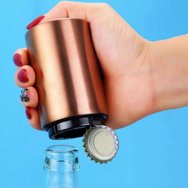 Abridor de garrafa de aço inoxidável Automático empurrão para baixo Cap de cerveja magnética abridor de cozinha gadgets de cozinha abreadores 200pcs transporte marítimo IIA91