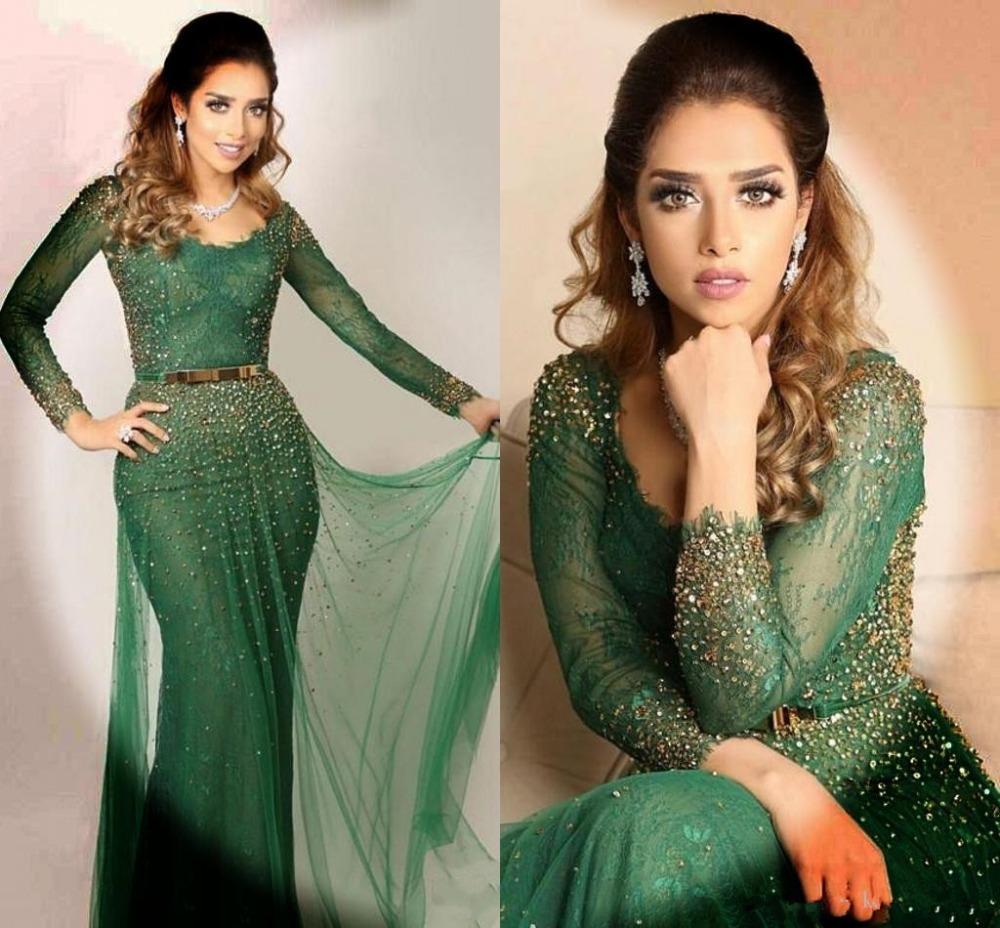 Саудовские арабские Темно-зеленые вечерние платья 2020 Scoop шеи шнурка Crystals бисером длинным рукавом Пром платья Русалка Дубай Кафтан Новоселье AL6543