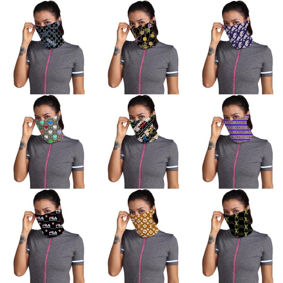 Diseñador de la máscara impresa de las mujeres de algodón bufanda mágica cara 14 Estilos gasa pañuelo al aire libre a prueba de viento de la media cara a prueba de polvo Parasol ma # 160 # 938