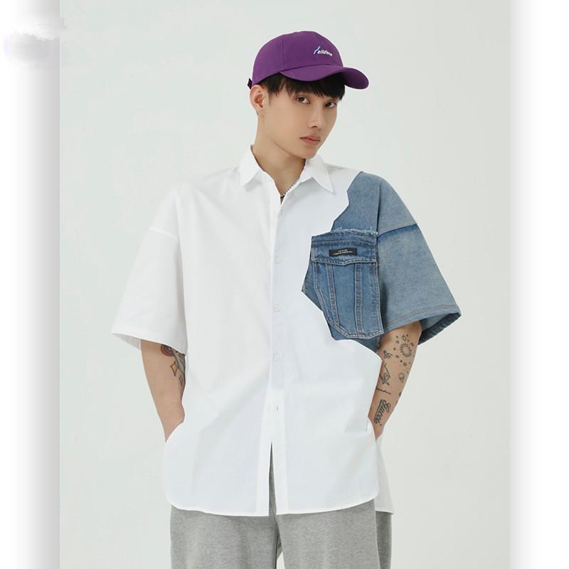 Vente chaude 2020 nouvelle mode d'été shirt Sense Design Homme Brochage White Denim de chemise coréenne style tendance hommes