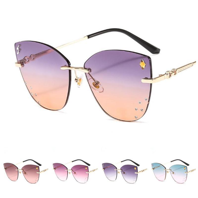 Moda Güneş Degrade Renk Ornama Yuvarlak Kadın A + + Gözlük Çerçevesiz Gözlük Anti-UV Gözlük Göz Güneş Gözlüğü Çerçeve Gözlükler Kedi Abgrk