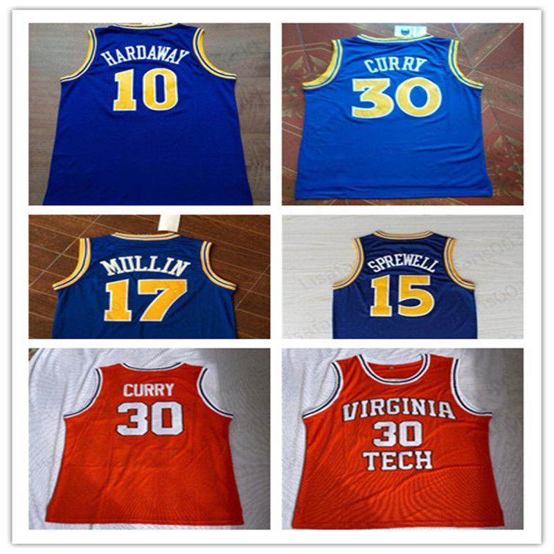 # 17 Крис Маллин # 15 Спрюэллов 10 Хардуэй Ретро баскетбол Джерси университета носит сшитый Джерси S-2XL Верхнего качества