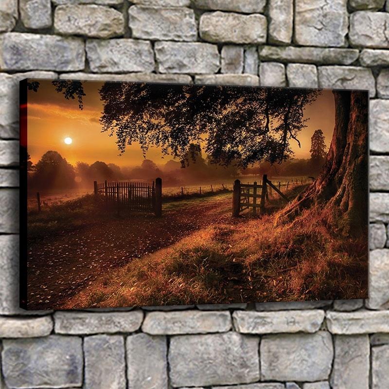 Moderne Leinwandbilder Home Decor 1 Stück Pfade Natur-Landschaftsmalerei Wohnzimmer Herbst-Sonnenaufgang-Plakat-Wand-Kunst-Rahmen-Druck