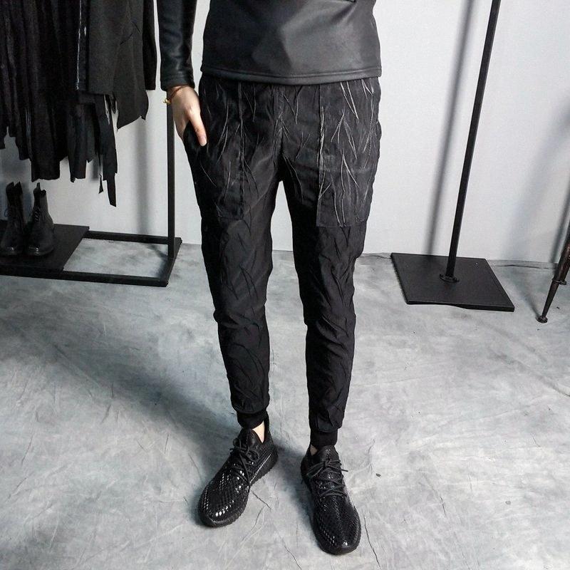 Los nuevos 2019 hombres de la primavera pequeñas rayas oscuras jacquard pies delgados coreanos sociales sobre los pantalones del ocio más los pantalones del tamaño Enge #