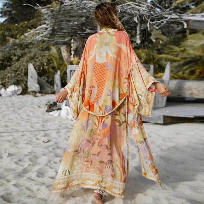 AYUALIN цветочного принт кимоно кардигана длинной блузки феры женщины плавать прикрывают летом 2020 Boho кафтана пляжа ф блузок vestidos T200714
