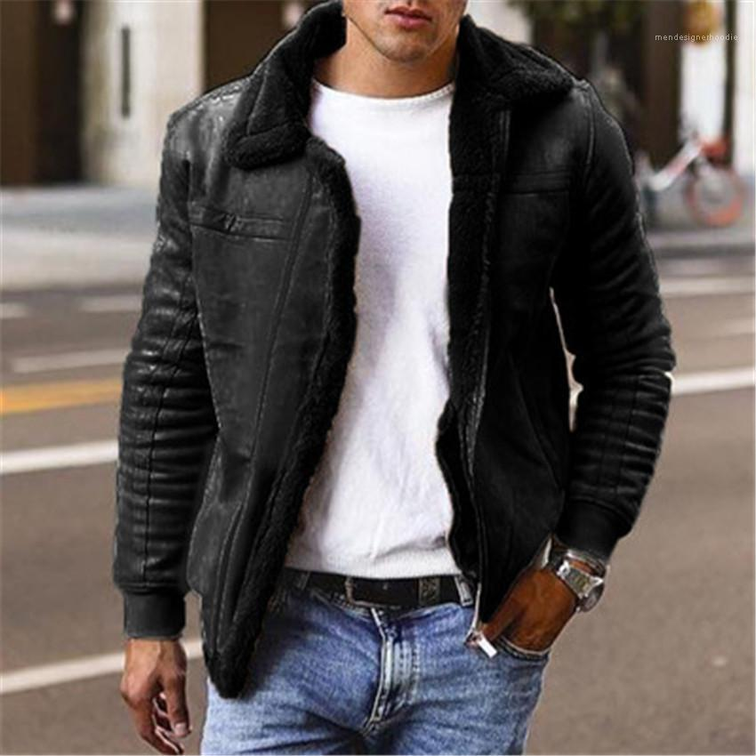 Sleeve Man Jackets Solid Color Mens Outerwears with Zipper Winter Plus Size Mens Coats Thicken Lapel Neck Long