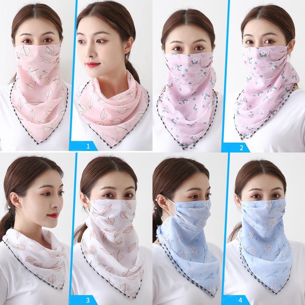 US Versand Frauen-Schal-Gesichtsmaske 36 Styles aus Seidenchiffon Handkerchief Außen windundurchlässiges Half Face Staubdichtes Chiffon Sonnenschutz-Masken-Schal