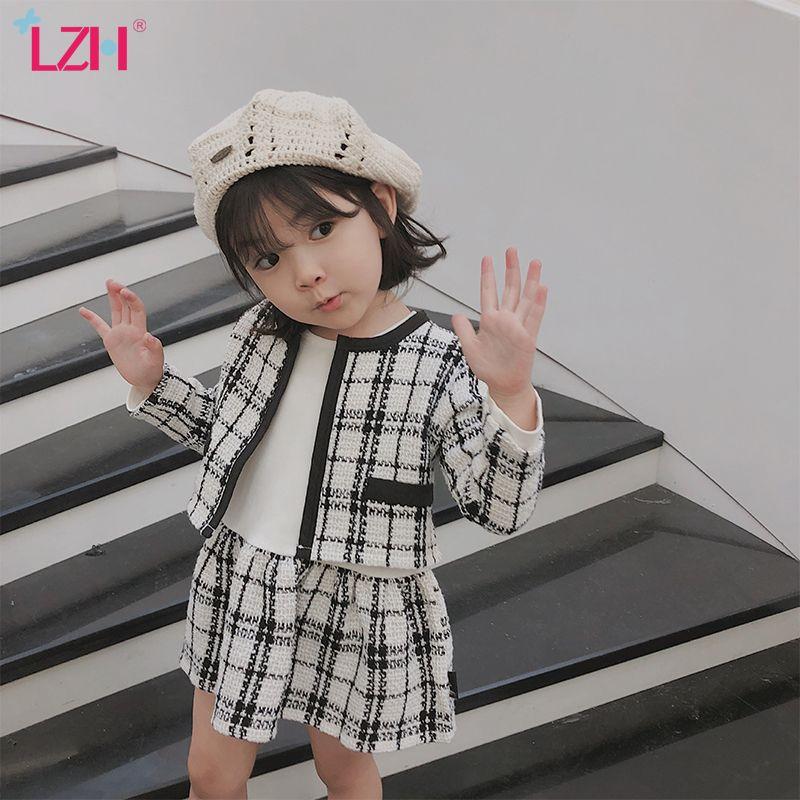 LZH 2020 Осенняя мода Дети Девочки Одежда Plaid Coat + Long-leeved платье 2Pcs Эпикировка Костюм Детская одежда Девочки Наборы 2-6 лет