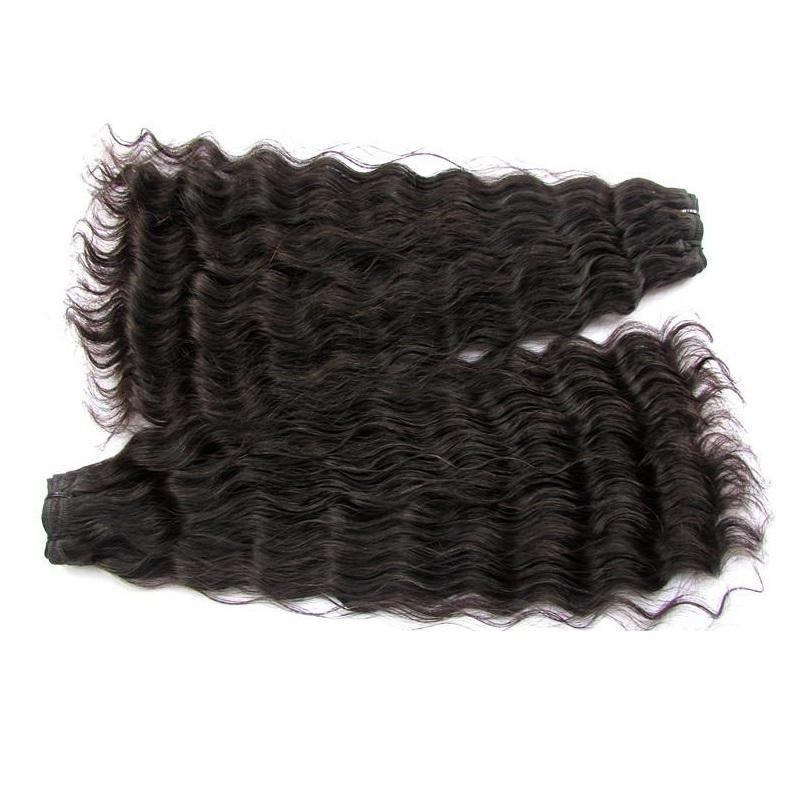 """التخليص سوبر مزدوجة تعادل موجة عميقة الطبيعية البرازيلي العذراء الشعر البشري حزم 2 حزم الكثير غير المجهزة اللون الطبيعي 18 """"المتاحة"""