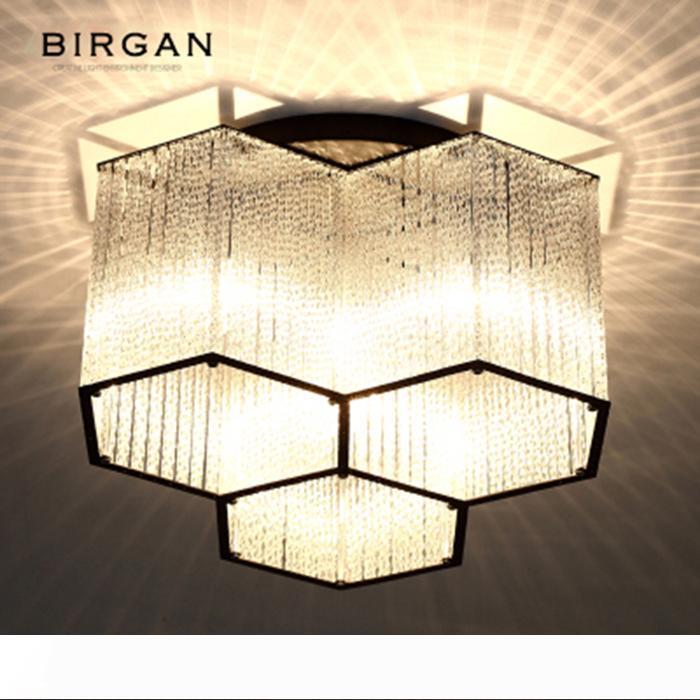 Светодиодный потолочный светильник Современный шестигранной Кристалл подвеска лампа для установки заподлицо светильник для гостиной Спальня Кафе Бар Потолочные светильники