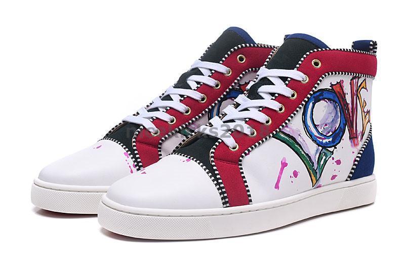 Mens Womens Shoe Casual Luxury sapatas do partido Spikes Red inferior da sapatilha Plano Mens High Top Lace-up Moda Casamento preto Chaussures