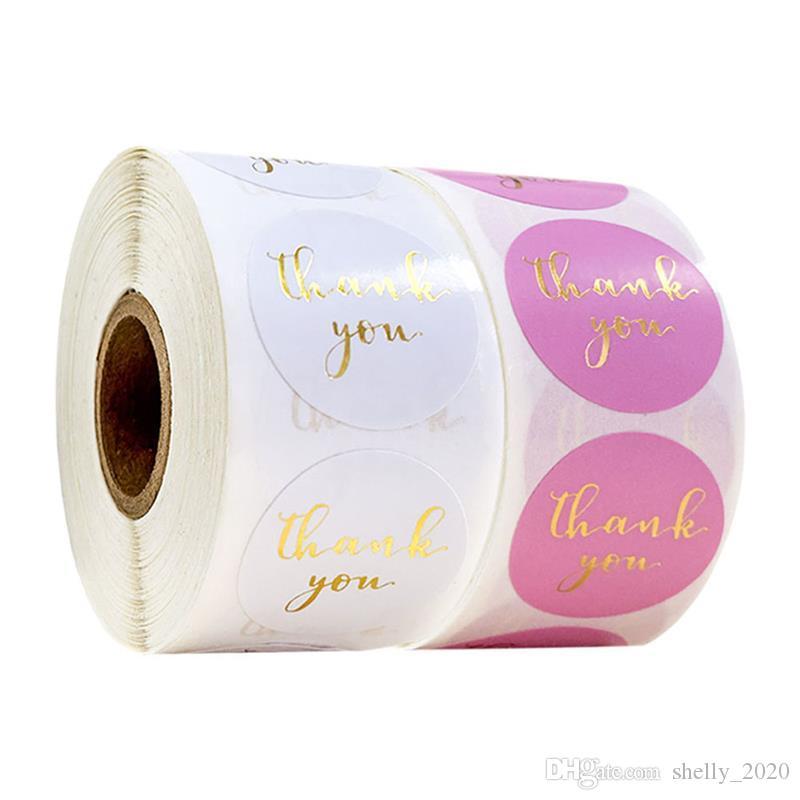 500pcs Gold Foil Grazie Sticker Autoadesivo Scrapbooking per busta Seal Etichette Adesivi Pink Bianco Pink Cancelleria Adesivo
