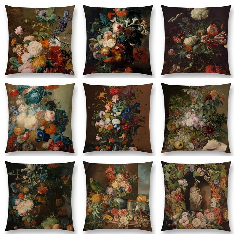 Klasik Çiçek ve Bitkiler Natürmort Çiçekçilik Vazo Yaprak Meyve Yağlıboya Resim Sanatı Renkli Yastık Kapak Yastık Kılıfı