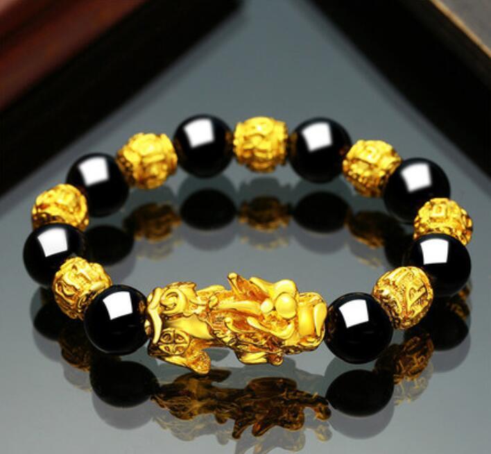 Das eigentliche Produkt in Vietnam ist die 3D-Gold 999 Obsidian Kette für Männer und Frauen