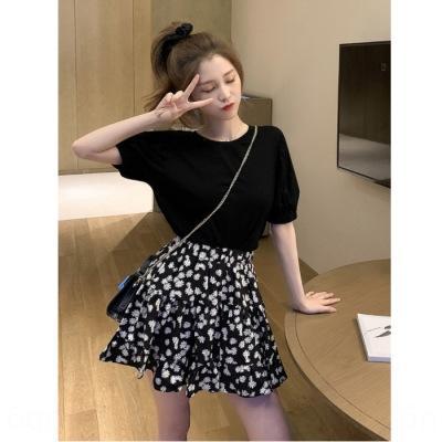 CWnUl Noir demi-manches T-shirt avec une jupe de ligne Daisy A- le printemps femmes costume nouvelle jupe occidentale A- LINE ROBE top style manteau de deux pièces