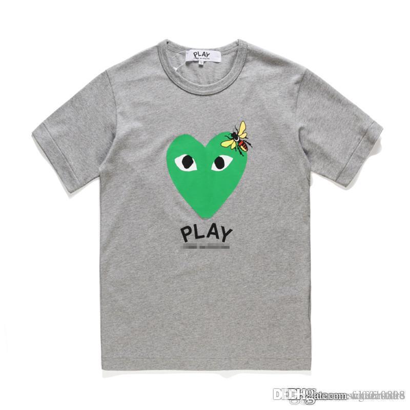 İyi + Kalite Unisex CDG OYUN Dev Kamuflaj Yeşil Kalp Spor Pamuk Mürettebat Boyun tişört S-XL Tops