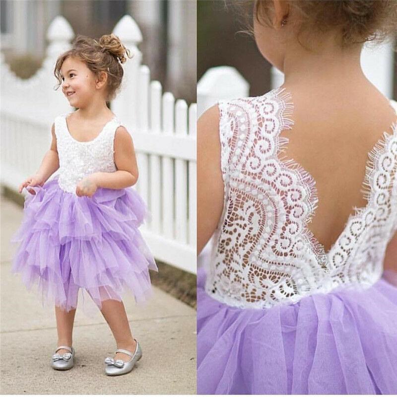 Bambino bambini delle neonate vestiti del bambino vestito da partito promenade del merletto damigella d'onore partito dei vestiti Pageant