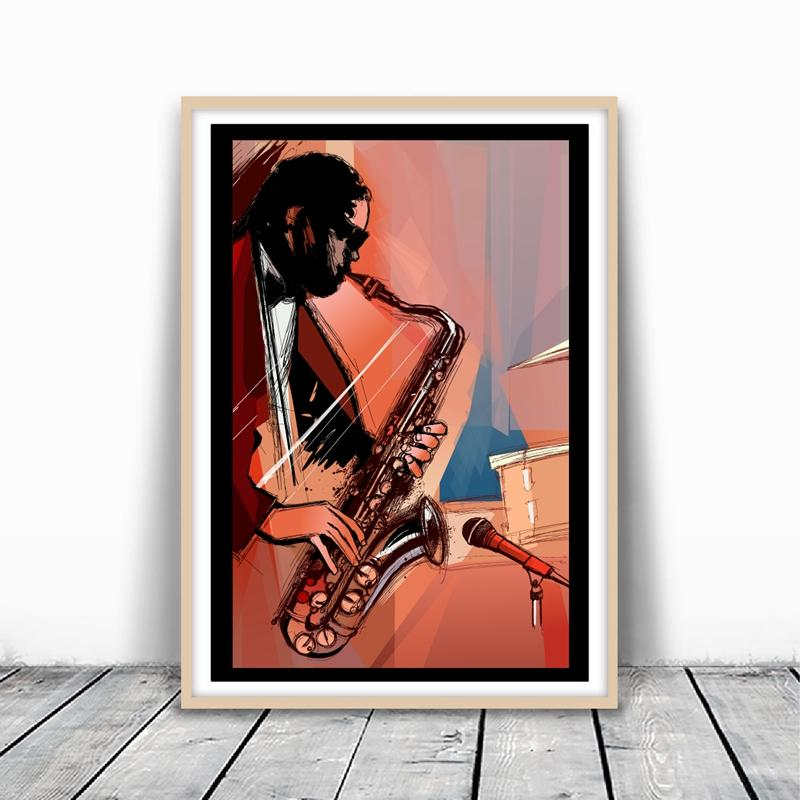 Saxophone Player Prints Music Poster Room Wall Art Home Decor Hand Painted Canvas Painting Picture Musician Gift idea