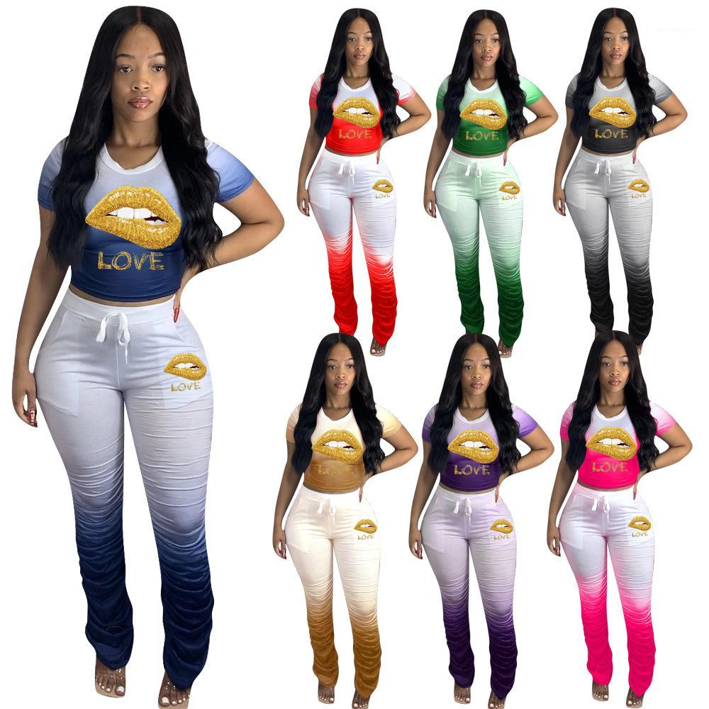 Mulheres Lips Gradient Staked Treino tripulação manga curta Neck Magro Camiseta Lace Up Staked Calças Famale Suit Sport