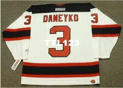 Mens # 3 КЕН Данейко Нью-Джерси Девилз 2003 CCM РЕТРО Главная Хоккейный Джерси или заказ любое имя или номер ретро-Джерси