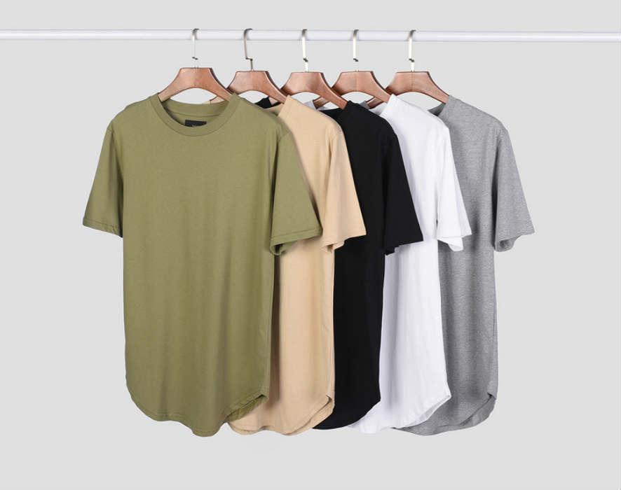 Maglietta degli uomini estesa Streetwear T-shirt da uomo abbigliamento Linea curva Hem parti superiori lunghe Swag Hip Hop urbano vuoto