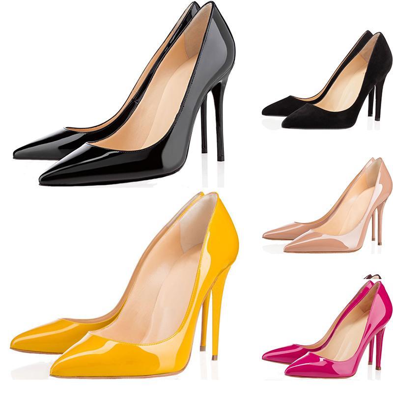 Christain Louboutin Com caixa Nova mulheres sapatos de salto alto oito centímetros 10 centímetros 12 centímetros Red Bottoms couro dedos apontados Bombas fundos Sapatos EUR 36-42