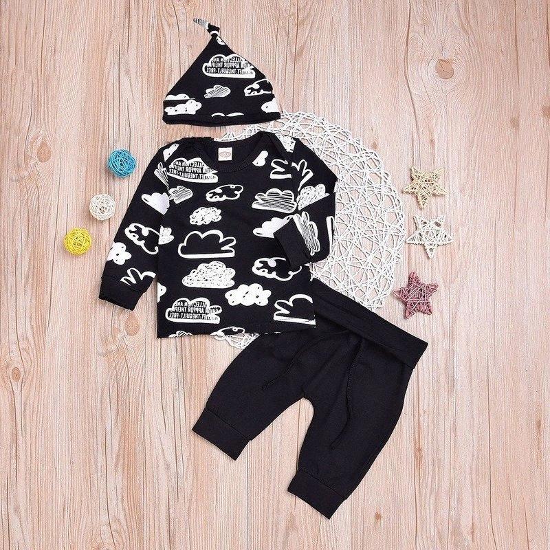 Roupa do bebé Roupa do bebê menina Define Recém-nascido algodão estampado Sleeved longos T-shirt + calças + cap crianças 3pcs roupas Suit menina w46L #