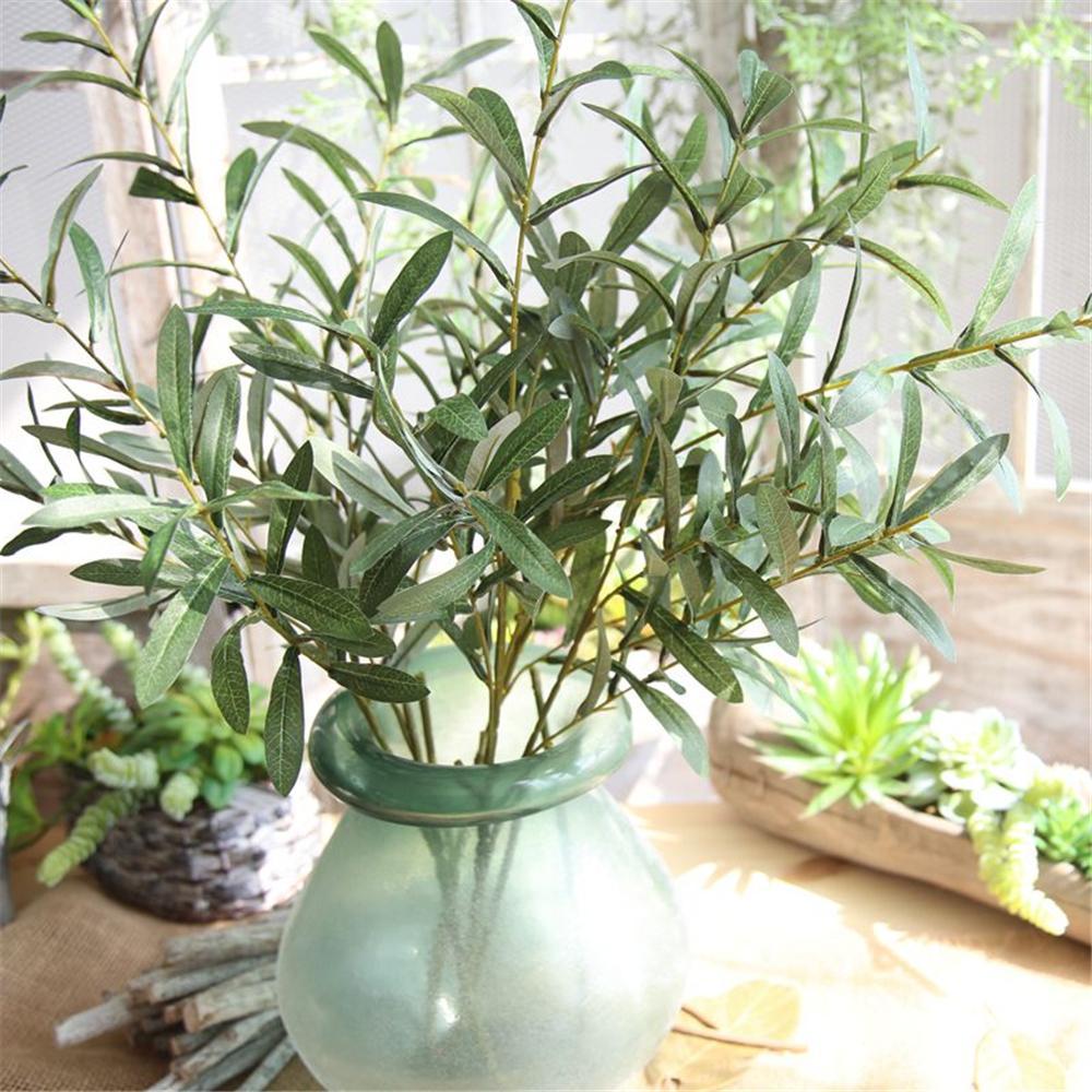 Vente chaude LIN MAN Branches de fleurs artificielles Feuille vert olive Simulation Plante artificielle Bouquet de mariage décoratif