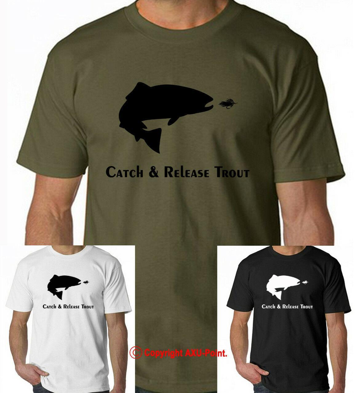 Pesca a mosca tshirt arcobaleno marrone trota di fiume cacciatore di salmoni CatchRelease tshirt