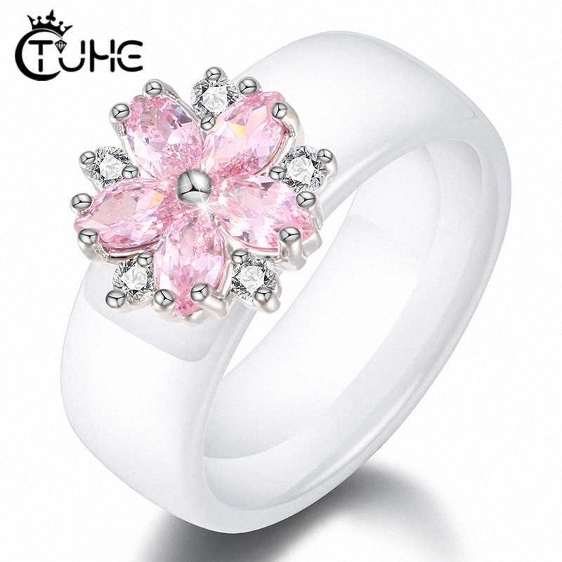 Femminile ragazze di colore rosa di cristallo geometrico anello di buona qualità sani ceramica anello di promessa di nozze Anelli di fidanzamento per le donne migliori regali Arty #