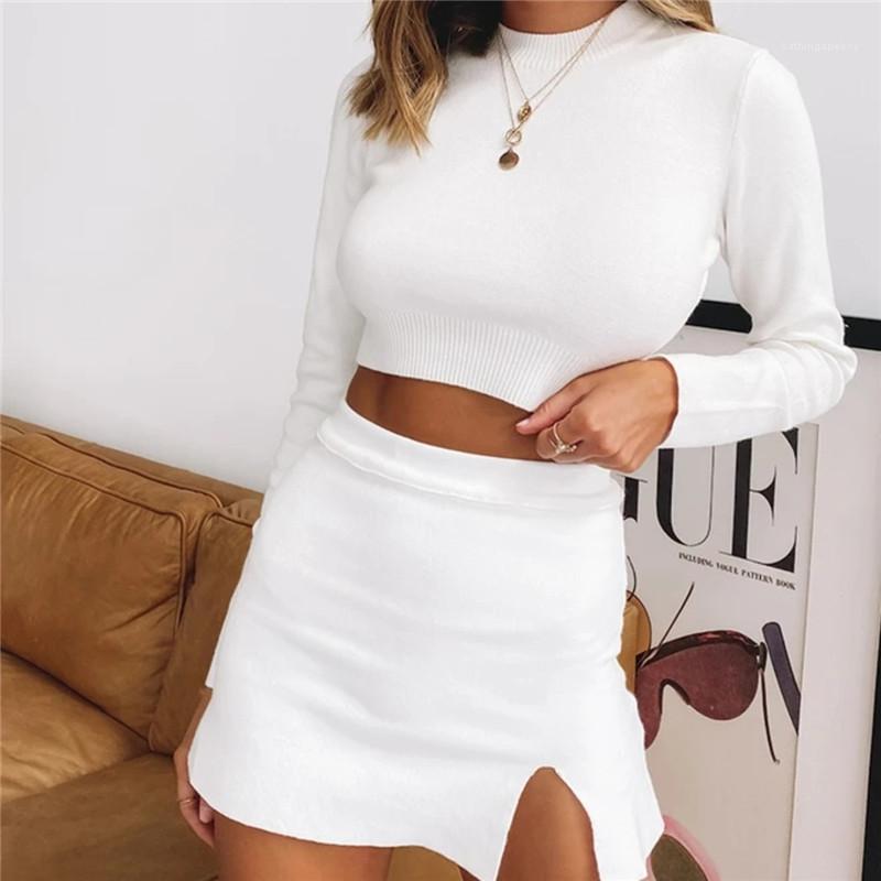 Knie-Kleid-Frauen-S Bekleidung 2-teiliges Set Natural Color Frauen zweiteiliges Kleid Sexy Long Sleeve Crop Top Above