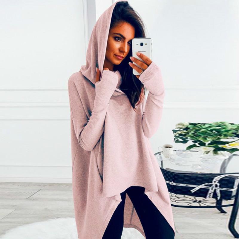 2020 abrigo suelto capucha Manto sudadera Outwear T200714 irregular sudaderas con capucha de gran tamaño larga Rosa Amarillo Negro con capucha de las mujeres