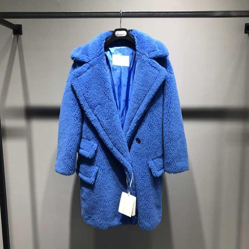 Classic Short Teddybär-Pelz-Mantel-Alpaka-Mantel-Frauen Herbst-Winter-Wolle Lockere Mäntel Stilvolle warme Teddybär Blau
