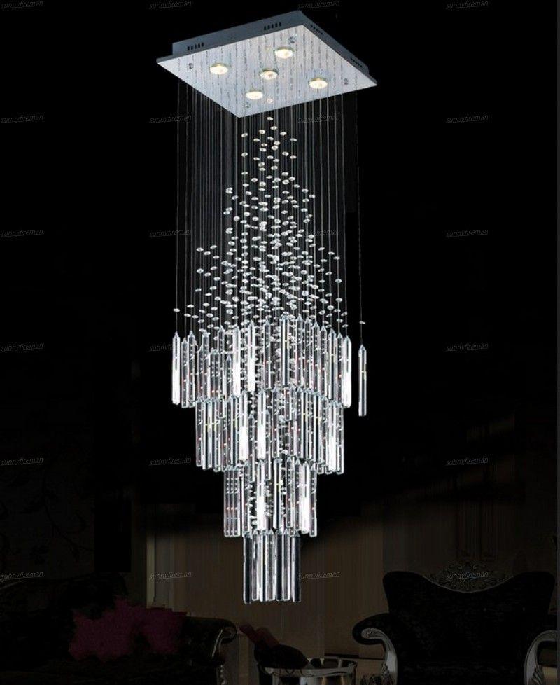 lustre de teto moderno para viver pendurado quarto colunar Candeeiros de cristal base quadrada luminária lustres escada do sotão