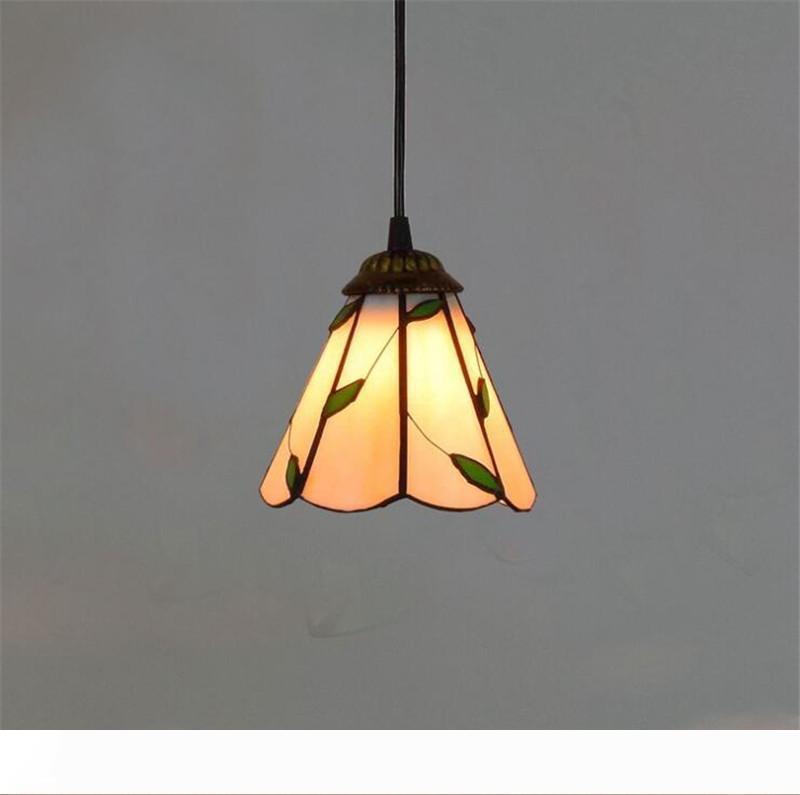 الأمريكي فندق الرجعية مصباح أوراق فن الزجاج مهل نمط الريفية الملون تيفاني زجاجية صغيرة TF004 الثريا