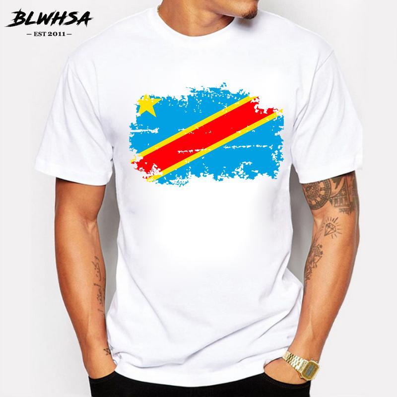 République démocratique du Congo Drapeau T-shirt de coton frais t-shirts République démocratique du Congo Drapeau national Tee