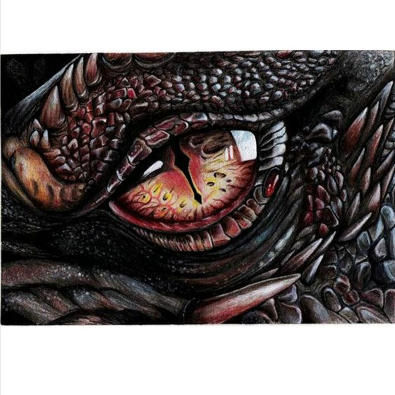 Dragon Eyes 5D Diamond Round Rhinestone Embroidery Painting DIY Cross Stitch Kit Mosaic Draw Home Decor Art Craft Gift