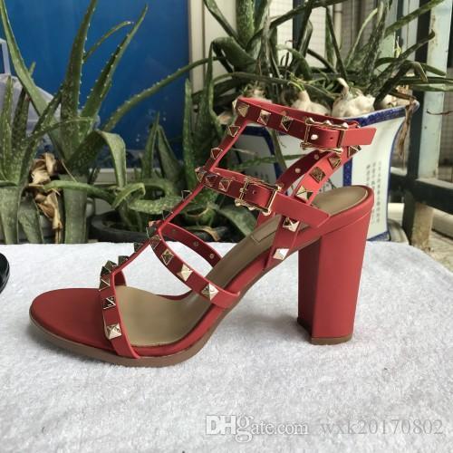 Givenchy Versace Gucci Ysl Fendi UGG rivetti nuovi sandali 2018 nuove donne europee con i sandali alti ribattini di modo 9.5 cm 6 colore di formati 35-41