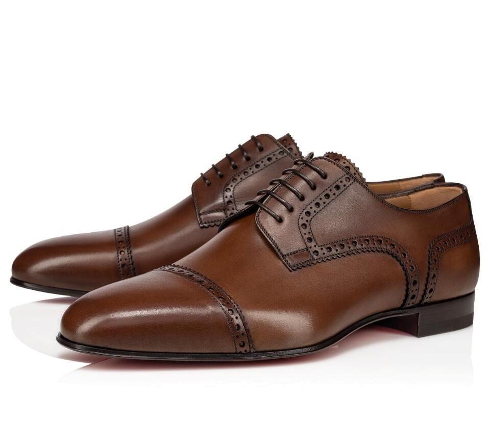 Elegante cavalheiro Eygeny Derby Oxford Walking Brown, dos homens negros parte inferior vermelha Sapatilhas preguiçosos Designer de Luxo Shoes Vestido melhor presente