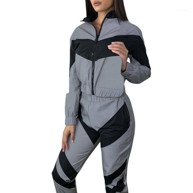 Kümeler Yaz Kadın İki Adet Kıyafetler Bayan Tasarımcı eşofman Fermuar Geometrik Baskılı Pantolon Bayan Spor Tops