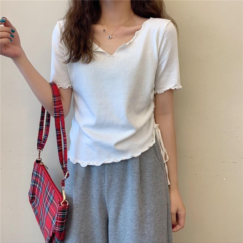 d6pAL Oox2F 2020 été nouveau tout match style bm sangle réglable maille fosse femmes taille design cordon de serrage à manches courtes Bar T-shirt T-