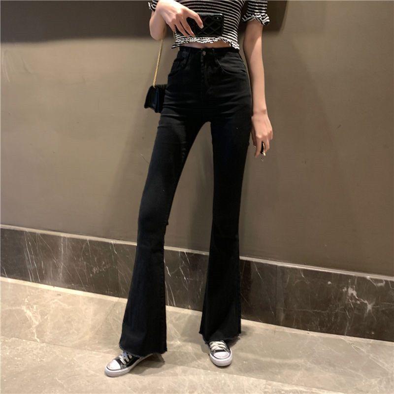 Mom preto de cintura alta Alargamento Jeans Boyfriend Sino inferior Denim magro da mulher Jeans Feminino Ampla Leg Vintage Plus Size XL