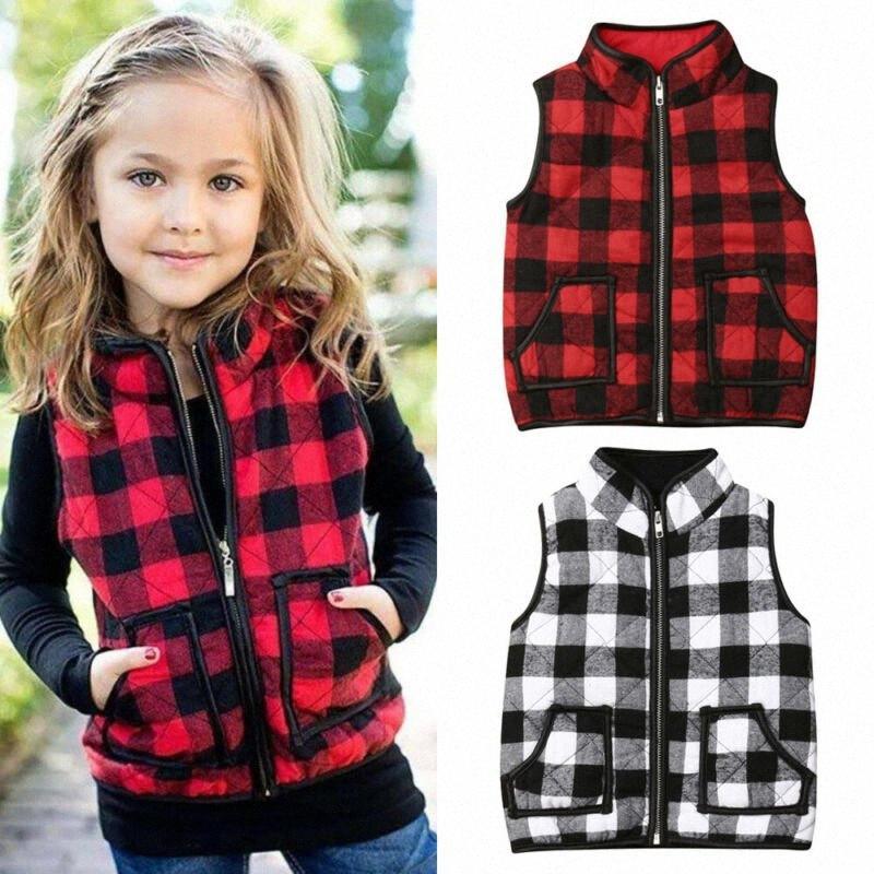 1-6Y Tout-petits enfants bébé Plaid Gilet Zipper Outwear Manteau Gilet chaud Veste Automne Hiver Vêtements 059Z #