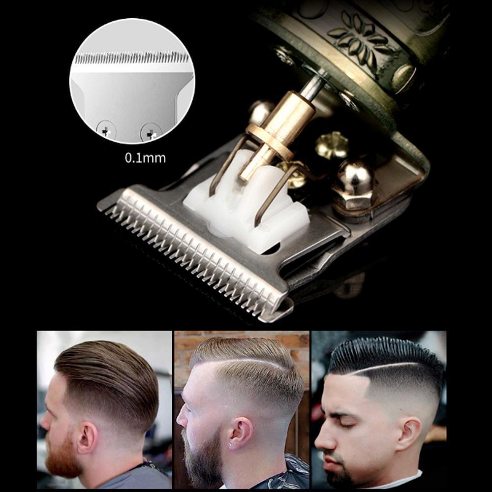Primeiro corte de cabelo Digital Trimmer cabelo elétrico recarregável Clipper ouro Barbershop Cordless 0 milímetros T-blade careca Outliner Homens